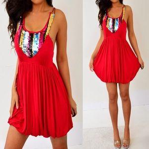 Love Culture Red Blue Silver Sequin Bubble Dress S